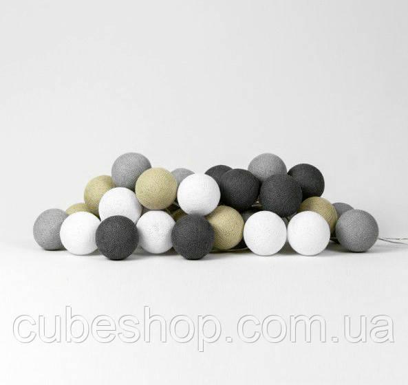 "Тайская LED-гирлянда ""Sand grey"" (10 шариков) на батарейках"