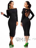 Платье черное ниже колен с бантиком, фото 1