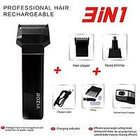 Электробритва ROZIA HQ 5200 аккумуляторная 3 насадки бритье, стрижка волос, триммер для носа, фото 1