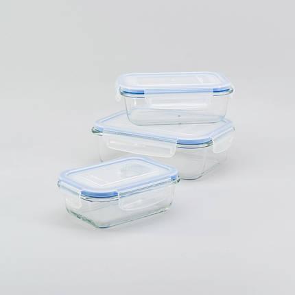 Набор стеклянных прямоугольных контейнеров 3 в 1 Herisson (EZ-2501), фото 2