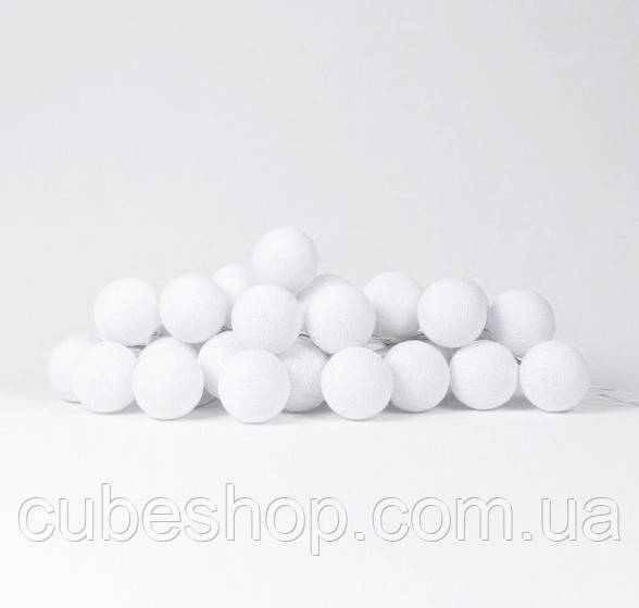 """Тайская LED-гирлянда """"White"""" (20 шариков) на батарейках"""