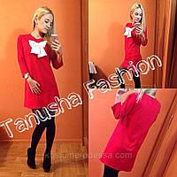 Платье с бантиком красное трикотажное, фото 1