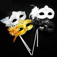 Венецианская маска на ручке с цветком (4 цв)
