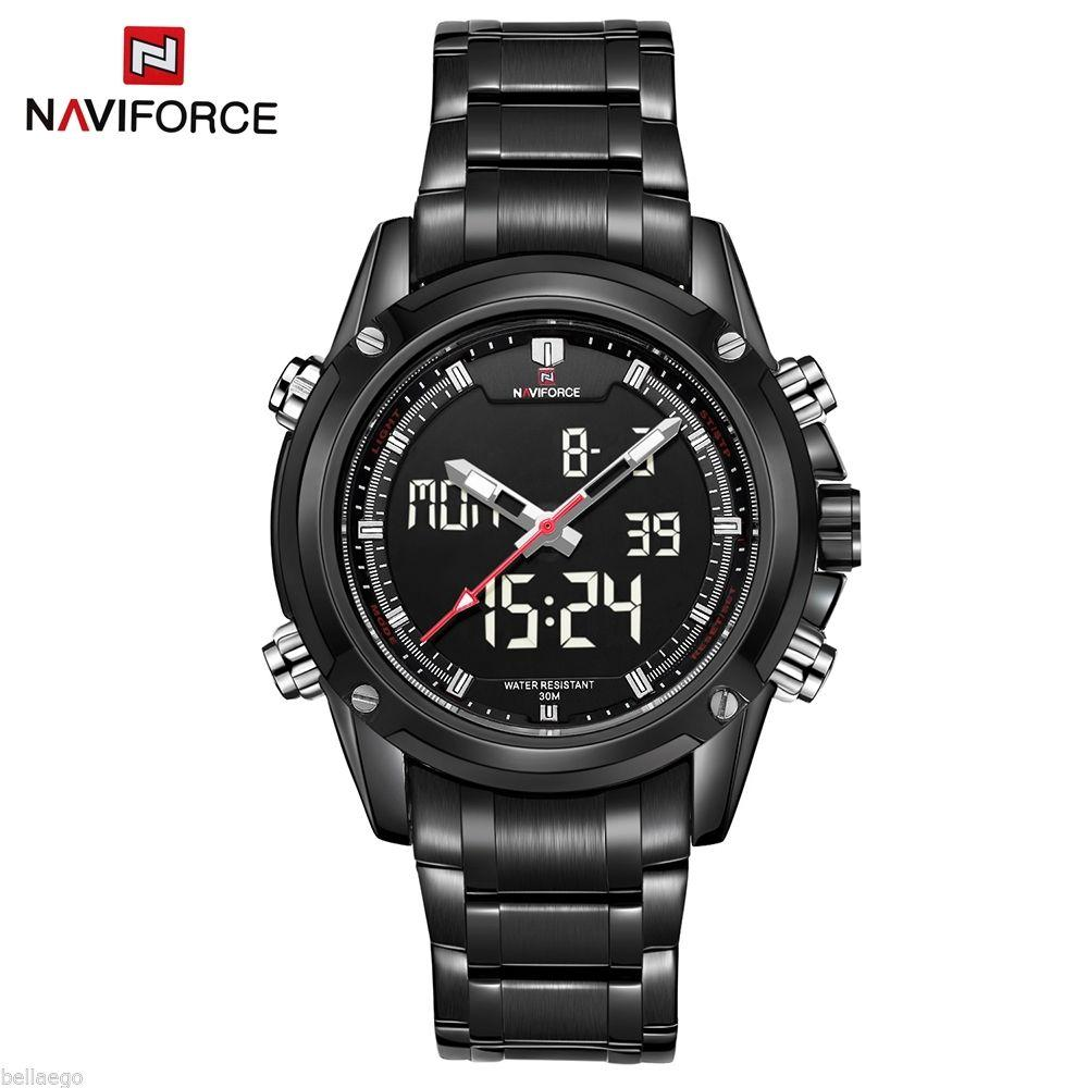 Мужские наручные часы Naviforce NF9050M Dual Movt Men Quartz Analog Digital LED