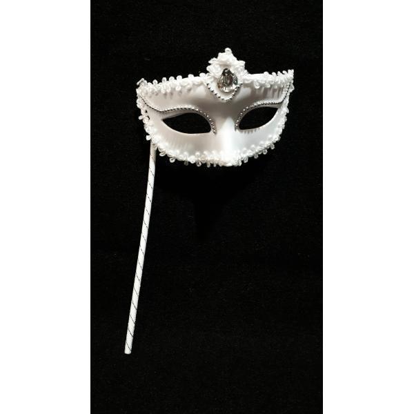 Венецианская маска на ручке  (черная, белая)