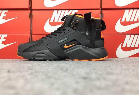 """Зимние кроссовки Nike Huarache Winter Acronym """"Black/Orange"""" (Черные/Оранжевые), фото 2"""