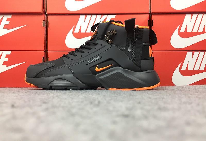 """Зимние кроссовки Nike Huarache Winter Acronym """"Black/Orange"""" (Черные/Оранжевые)"""