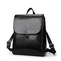 Женская рюкзак-сумка из качественной экокожи черная, фото 1