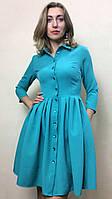 Платье-халат с пышной юбкой и карманами П208