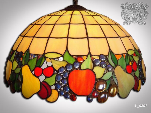 Люстра из цветного стекла в технике Тиффани для кухни