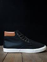 Кроссовки мужские текстильные нубук высокие популярные качественные на меху с белой подошвой на шнурках, фото 1