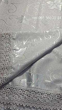 Тканевая скатерть с кружевом 150х225 (кленовый листик) , фото 2