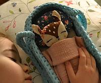 Игрушка для девочки. Комплект Оленёнок и люлька