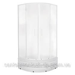 """TISZA MELY душевая кабина 90*90*200 см, на глубоком поддоне, профиль белый, стекло """"Zuzmara"""""""