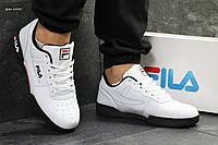 Кроссовки Fila мужские, белые с черным, в стиле Фила, материал-кожа, подошва-резина, код SD1-6330.