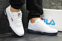 Кроссовки Fila мужские, белые с синим, в стиле Фила, материал-кожа, подошва-пена, код SD1-6333.