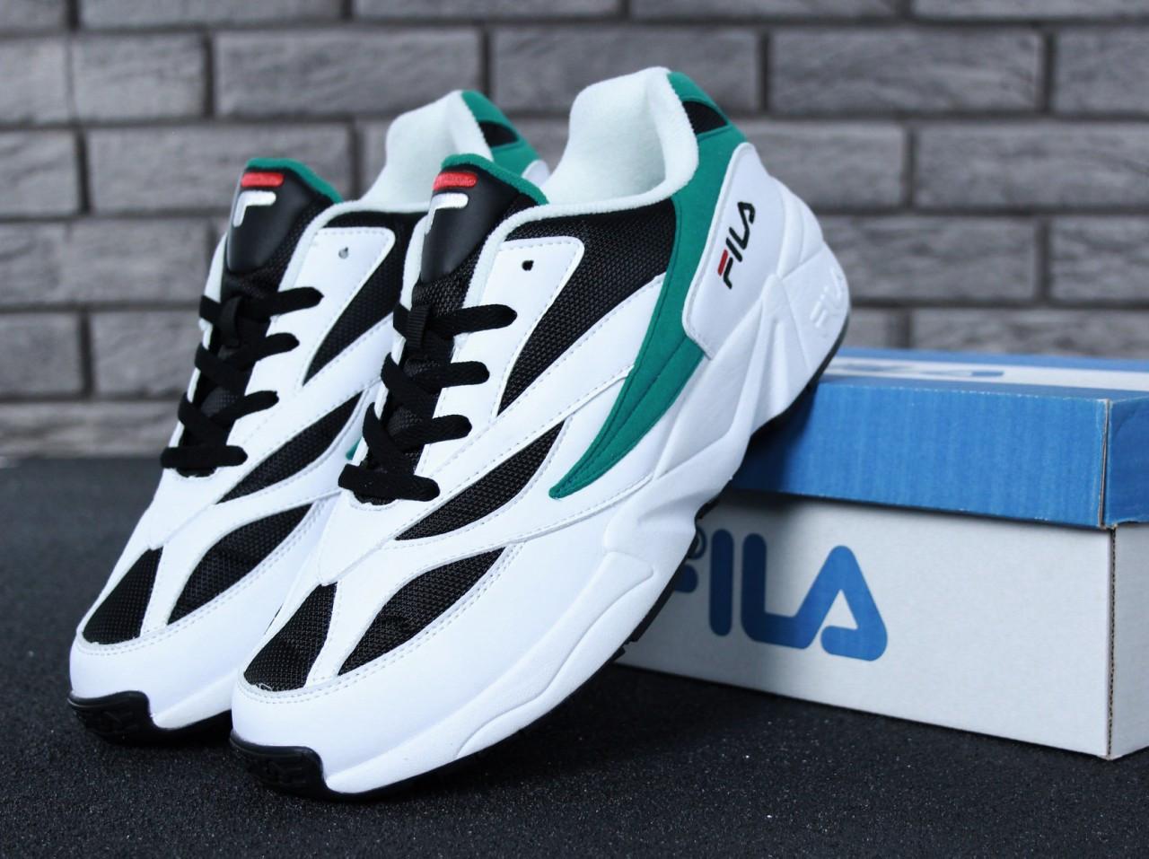 Кроссовки мужские в стиле Fila Venom код товара KD-11629. Белые с  черным зеленым - Bigl.ua 349b4b857a4f7