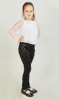 Модные детские лосины в черном цвете и вставки из эко-кожи