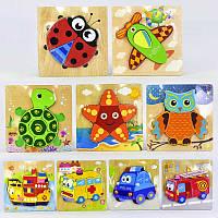 Деревянная игра Рамка-Вкладыш Пазлы, животные, машинки,  яркие цвета, в пакете, в наборе 1 штука