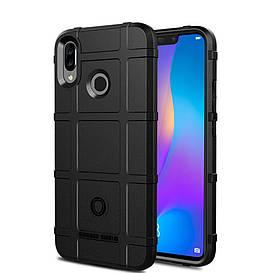 Чехол накладка для Huawei P Smart Plus | Nova 3i противоударный силиконовый, Square Grid, черный