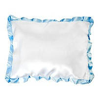 Подушка сублимационная прямоугольная атласная с цветным рюшем
