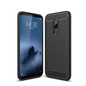 Чехол накладка для Meizu 16 силиконовый, Carbon Fiber, черный