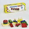 Деревянная логическая пирамидка Геометрия, геометрические фигуры, цвета, в коробке