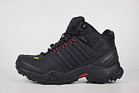 Зимние мужские кроссовки Adidas Terrex черные/красные петли