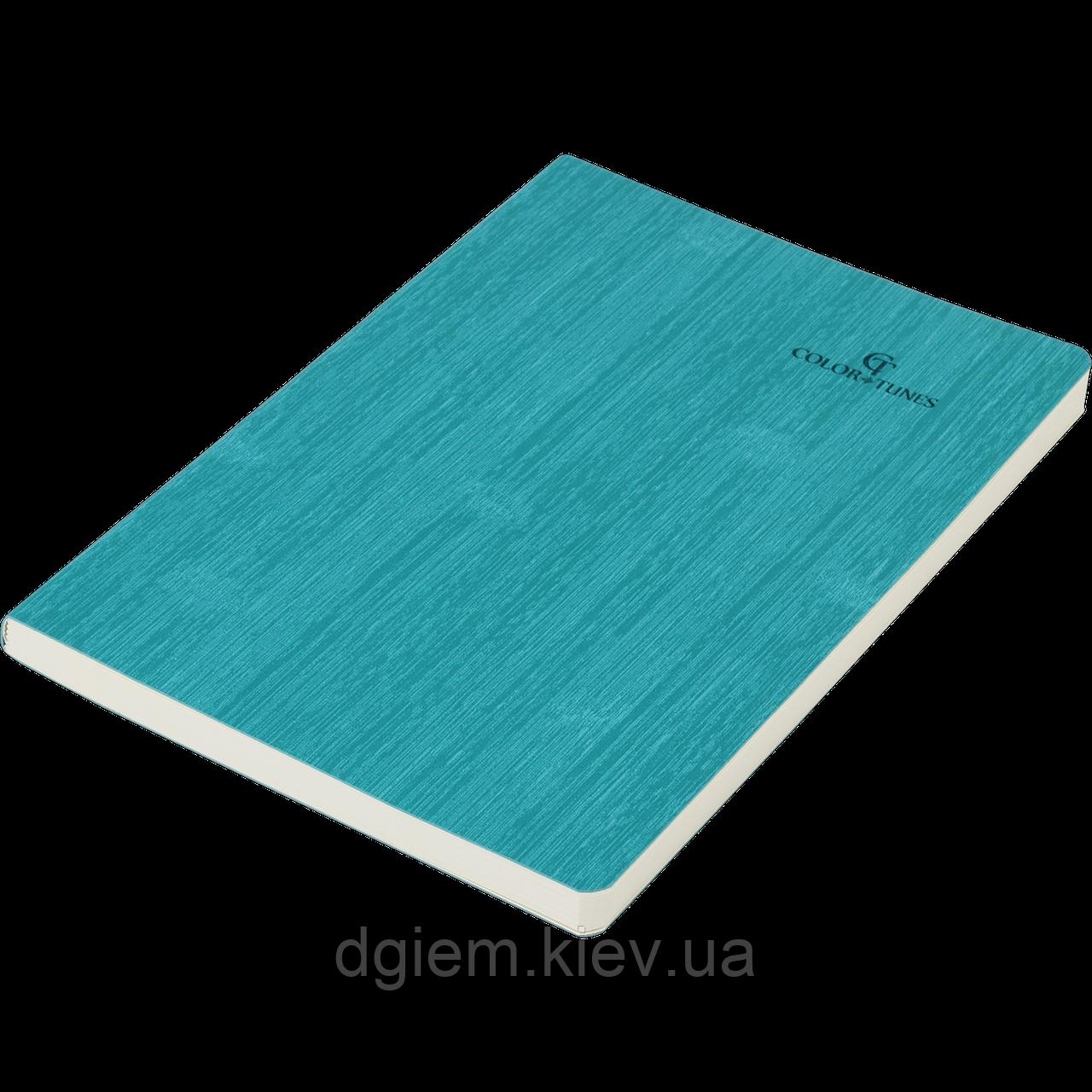 Блокнот ділової COLOR TUNES А5 96арк. чистий, позов. шкіра, бірюзовий