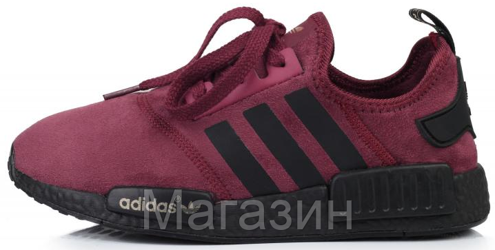 Женские кроссовки Adidas NMD Runner Suede Dark Red Адидас НМД бордовые
