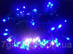Гірлянда світлодіодна Flash-String зелений кабель синій з теплим білим флешем 10м 100 діодів 220В