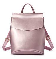 Рюкзак сумка трансформер женский кожаный  (перламутрово-розовый)