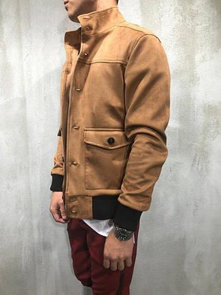 Мужская куртка с воротом стойка рыжая, фото 2