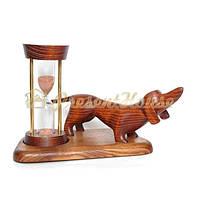 Часы песочные 5 мин. На подставке со скульптурой Собаки Такса