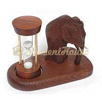 Часы песочные на подставке со скульптурой Мамонт