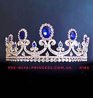 Диадема для девочки,  корона под серебро с синими камнями, тиара, высота 5,5 см., фото 1