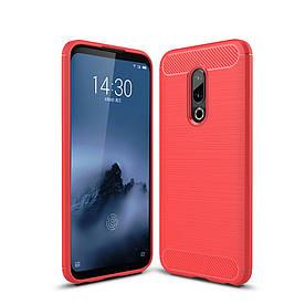 Чехол накладка для Meizu 16 PLUS силиконовый, Carbon Fiber, Красный