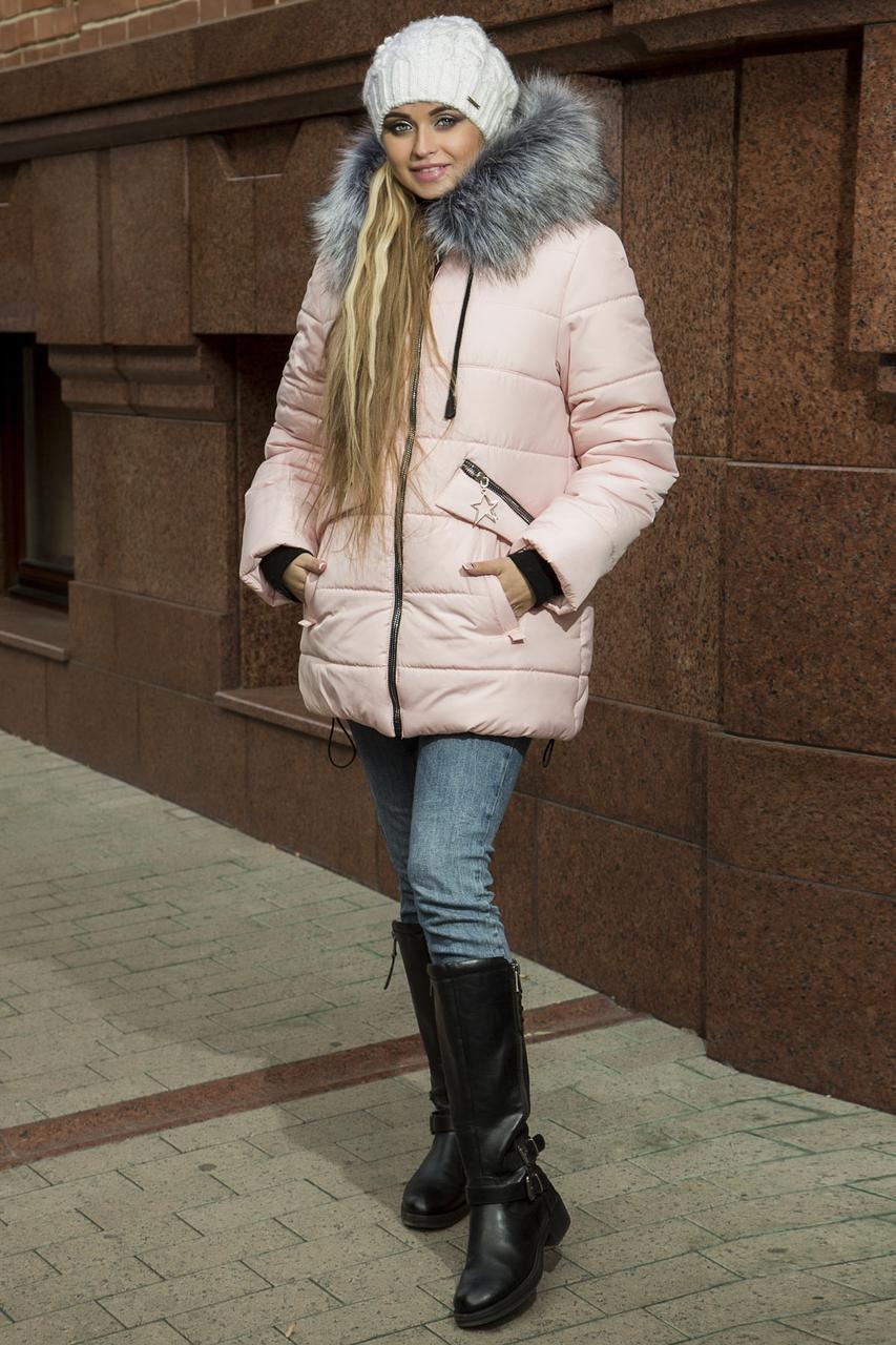 f9f1e48facf Зимняя женская куртка-пуховик с эко-мехом чернобурки рр 44-54 - Eliza