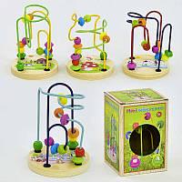 Лабиринт для пальчиков детская развивающая деревянная игра, в коробке, бусинки, проволока