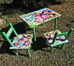 Детский набор стол и 2 стульчика, деревянный