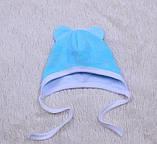 Велюровая шапочка на завязках для новорожденных Mini (0-3 мес), фото 3