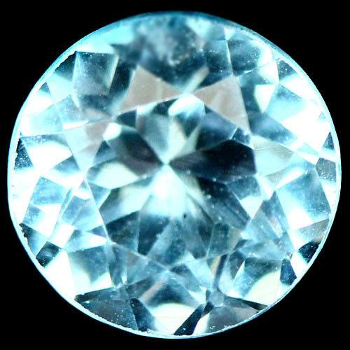 3.54 карат Природный небесный голубой топаз Бразилии круг 9 мм