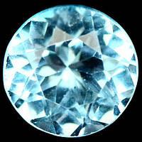 3.54 карат Природный небесный голубой топаз Бразилии круг 9 мм, фото 1