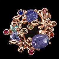 Серебряное кольцо в позолоте с танзанитами 8 мм*6 мм и цирконием