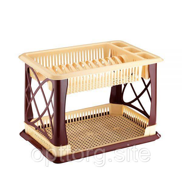 Сушка для посуды и столовых приборов 29х42х29 см двухъярусная Elif Plastik 306