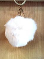 Брелок Шарик, из натурального меха Кролик 5 см., белый, фото 1
