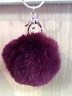 Брелок Шарик, из натурального меха Кролик 5 см., вишневый, фото 1