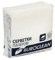 Салфетки бумажные, 240*240 мм, 50шт, в пп упаковке, белые Buroclean