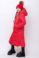 Длинное зимнее пальто  пуховик для девочки Zkd 10 красный цвет