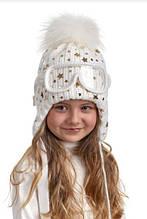 Брендовая зимняя шапка для девочки с очками. Nikola. Польша